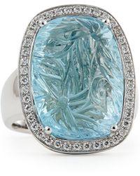 Rina Limor - Medium Bouquet Carved Blue Topaz & Diamond Ring - Lyst