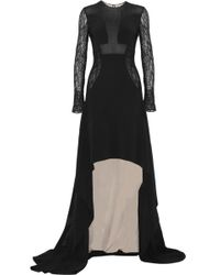 Antonio Berardi Lace and Point Desprit-paneled Crepe Gown - Lyst