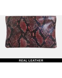 Urbancode - Leather Red Snake Clutch Bag - Lyst