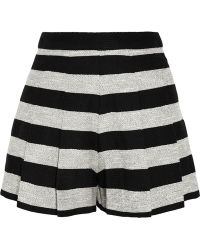 Alice + Olivia Pleated Striped Cotton-blend Shorts - Lyst