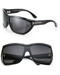 Tom Ford Wrapped Injected 62mm Squared Mask Sunglasses - Lyst