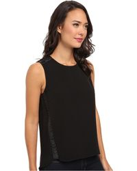 Calvin Klein Sleeveless Top W Braided Faux Leather - Lyst