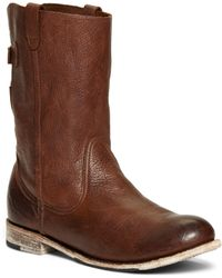 Brooks Brothers Short Leather Buckle Boots - Lyst