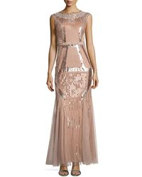 Aidan Mattox Fully Beaded Gown - Lyst