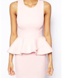 Asos Cut Out Back Peplum Pencil Dress - Lyst