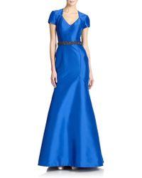 Theia Faille Mermaid Gown - Lyst
