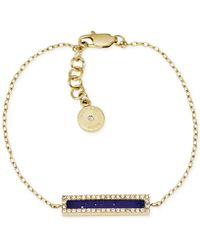Michael Kors Gold-Tone Lapis And Crystal Bar Bracelet - Lyst