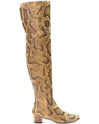 Bally Ocre Python Over The Knee Boot - Lyst
