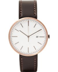 Uniform Wares M40 Pvd Rose Gold And Cordovan Leather Wristwatch - Lyst