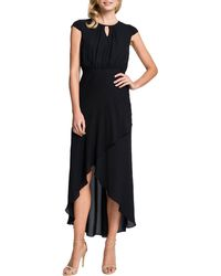 Cynthia Steffe Adeline Keyholeneck Highlow Dress Rich Black 8 - Lyst