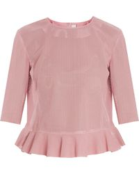 Drome Nappa Perforated Frill Top - Lyst