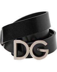 Dolce & Gabbana 30mm Logo Buckle Leather Belt - Lyst