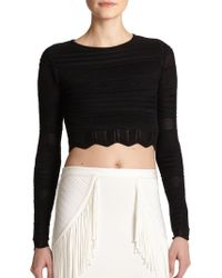 Torn Arielle Pointelle Knit Cropped Top - Lyst