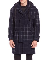 Plac Window Check Wool-blend Coat - Blue