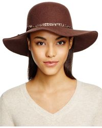 Bettina - Wool Felt Floppy Hat With Leopard Print Trim - Lyst