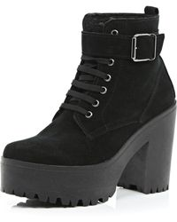 River Island Black Suede Lace Up Platform Ankle Boots - Lyst