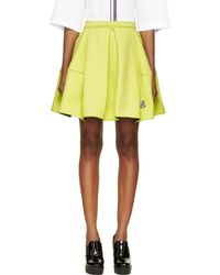 Kenzo Chartreuse Pleated A-Line Skirt - Lyst