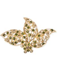 Jones New York - Gold-Tone Green And Topaz-Colored Bead Leaves Pin - Lyst