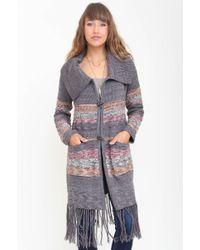 Goddis Amalia Long Fringe Knit Jacket gray - Lyst