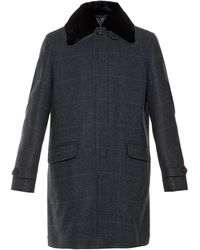 Brioni Prince Of Wales Cashmere And Mink-Fur Coat - Lyst