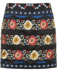 Topshop Petite Silk Embroidered A-Line Skirt - Lyst