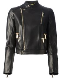 DSquared² Cropped Calf Leather Jacket - Lyst