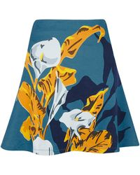 Carven Flower Print A Line Skirt - Lyst