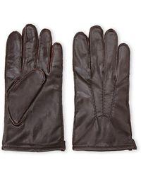 Original Penguin Brown Leather Gloves - Lyst