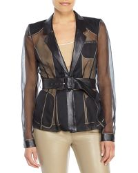 Jason Wu Black Belted Silk & Leather Organza Jacket - Lyst
