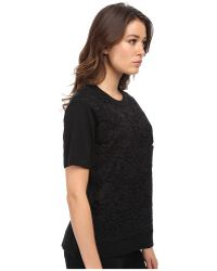 Kate Spade Floral Lace Front Sweater black - Lyst