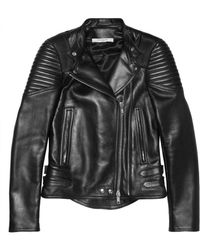 Givenchy Black Leather Biker Jacket with Ribbed Panels - Lyst