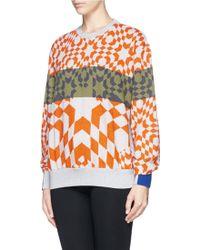 Preen Geometric Check Stripe Sweatshirt - Lyst