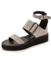 Helmut Lang Sediment 3 Strap Sandals - Stone - Lyst