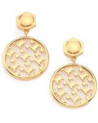 Tory Burch Perforated Serif T Drop Earrings gold - Lyst