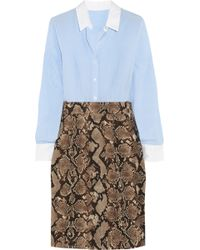 Altuzarra For Target Pinstriped Crepe De Chine And Python-Print Twill Shirt Dress - Lyst