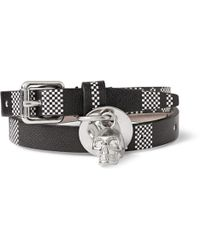 Alexander McQueen Checkpatterned Leather Wrap Bracelet with Skull - Lyst