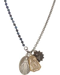 Miracle Icons - Triple-Pendant Necklace-Blue - Lyst