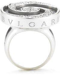 bvlgari preowned 18kw diamond andonyx swirl ring lyst
