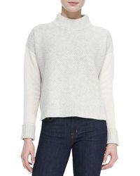 Rebecca Taylor Mixedpattern Knit Mockneck Sweater - Lyst