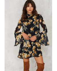 Nasty Gal | Marina Floral Bell Sleeve Dress | Lyst