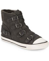 Ash Virginy Shearling-Trim Suede High-Top Sneakers - Lyst