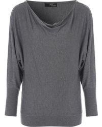 Jane Norman | Grey Zip Shoulder Jumper | Lyst