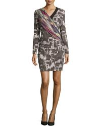 Nicole Miller Thea Abstraction Draped Dress - Lyst