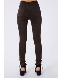 Missguided Cecily High Waisted Supersoft Skinny Jeans Dark Brown - Lyst