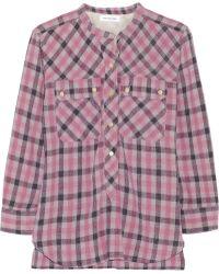 Etoile Isabel Marant Nelson Plaid Woven Silk Shirt - Lyst