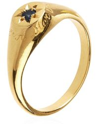 Alex Monroe - Guiding Star Blue Sapphire Signet Ring - Lyst
