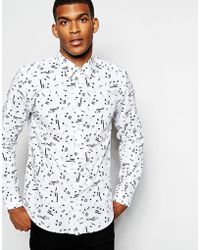 Wincer & Plant - Smart Shirt With Musical Note Print Slim Fit - Lyst