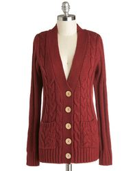 Mak Your Fireside Of The Story Cardigan in Rust - Lyst