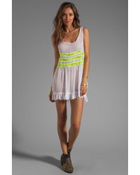 Gypsy Junkies Seville Tunic in White Yellow - Green
