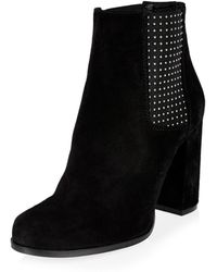 River Island | Black Suede Embellished Heeled Ankle Boots | Lyst